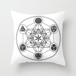 Metatron's Cube with Platonic Solids and Seed of Life Throw Pillow