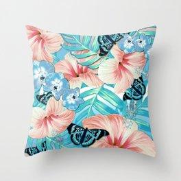 Tropical Spring Aqua Throw Pillow