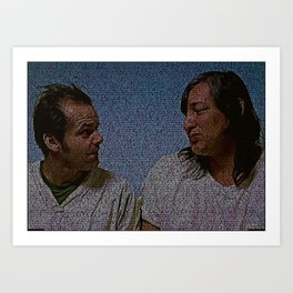Text Portrait of Randle McMurphy and Chief with full script of One Flew on the Cuckoo Nest Art Print