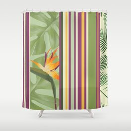 Bird of Paradise Flowers with stripes pattern Shower Curtain