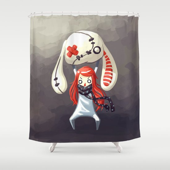 Bunny Plush Shower Curtain by Freeminds | Society6