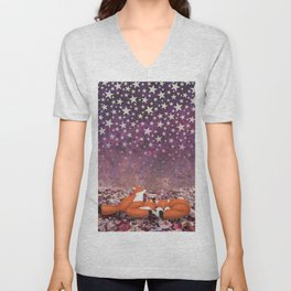 foxes under the stars Unisex V-Neck