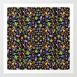 Terrific monsters posing for a colorful pattern design Art Print