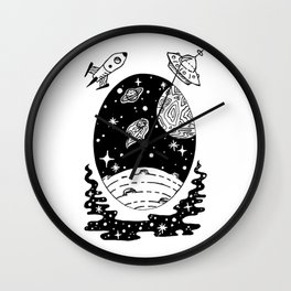 Space Themed Illustration — Comet Flying Past Planets Galaxy Design Wall Clock