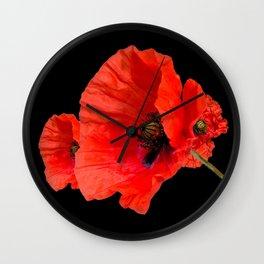 Poppies on Black Wall Clock