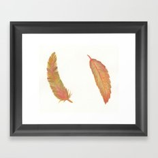 a fall leaf or a colorful feather Framed Art Print