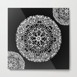 BLACK AND WHITE ETHNIC MANDALA  Metal Print