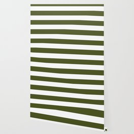 Army green - solid color - white stripes pattern Wallpaper