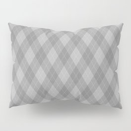 Argyle Fabric Pattern - Graphite Silver Gray / Grey Pillow Sham
