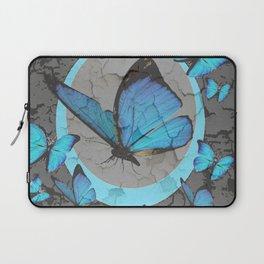 SHABBY CHIC  NEON BLUE BUTTERFLIES  & CHARCOAL GREY  N MOD Laptop Sleeve