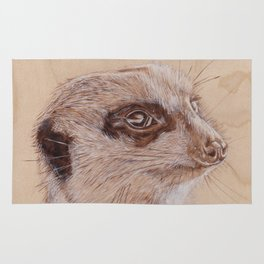 Meerkat Portrait - Drawing by Burning on Wood - Pyrography Art Rug