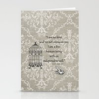 jane eyre Stationery Cards featuring Jane Eyre: I am no bird by AfterThisChapter
