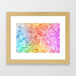 BRIGHT VIBRANT GRADIENT GEOMETRIC SHAPES RAINBOW PRINT TILED MOSAIC TIE DYE COLORFUL Framed Art Print