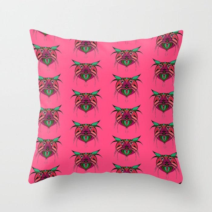 Tribal Cats 2 Throw Pillow