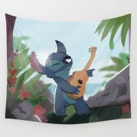 stitch Wall Tapestries featuring Stitch (Lilo & Stitch) by Bana Sakhnini