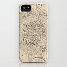 Vintage Mannheim Germany Map (1844) iPhone Case