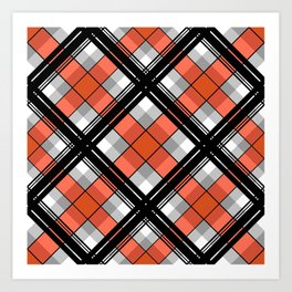 Black and orange plaid Art Print