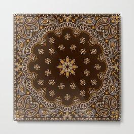 Brown Bandanna Pattern Metal Print