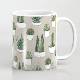 Watercolour cacti & succulents - Beige Coffee Mug