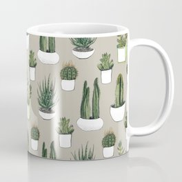 Watercolour cacti & succulents - Beige Coffee Mug