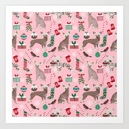 Chinese Crested dog breed christmas dogs pattern stockings mittens presents Art Print