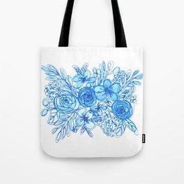 Blue Floral Bouquet Monochrome Watercolor Tote Bag