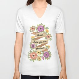 Bloom Where you Are Planted Watercolor Unisex V-Neck