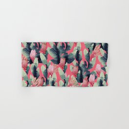 Coral pink navy blue mint green watercolor floral Hand & Bath Towel