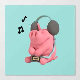Rosa the Pig WalkMan Canvas Print