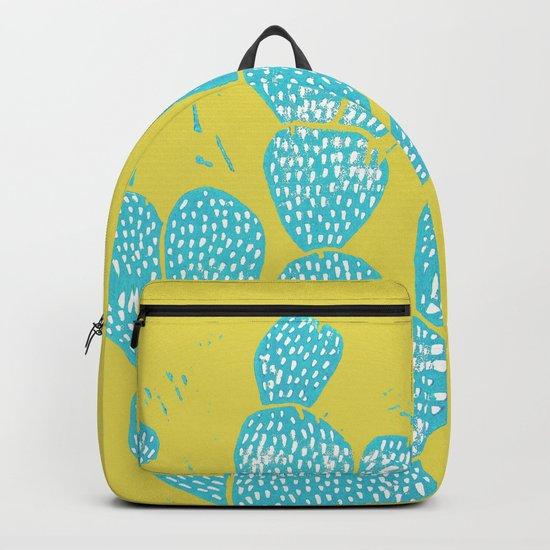 Linocut Cactus #1 Desert Blue Backpack