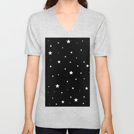Scattered Stars - white on black Unisex V-Neck