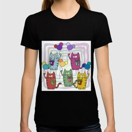 Funny colorful cats with gifts and inflatable balls in their paws T-shirt