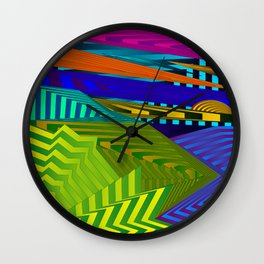 Fancy neon landscap with stylised yellow mountains, sea and Sun. Wall Clock