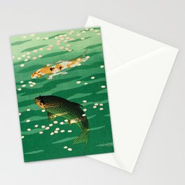 Vintage Japanese Woodblock Print Asian Art Koi Pond Fish Turquoise Green Water Cherry Blossom Stationery Cards