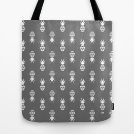 White on Grey Scatter Pines Tote Bag