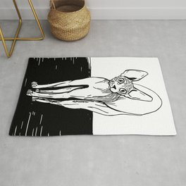 Black and White Sphynx Cat Line Drawing - Sphynx Lovers Gift - Naked Cat - Wrinkly Kitty Rug