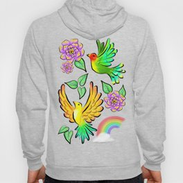 Birds Flowers and Rainbows Doodle Pattern Hoody