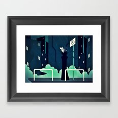 The First Bus Stop Framed Art Print