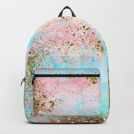 Pink and Gold Mermaid Sea Foam Glitter Backpack