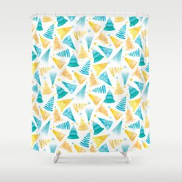 Oh Christmas Tree in Teal-Turquoise and Yellow-Gold Shower Curtain