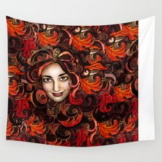 November Red Wall Tapestry
