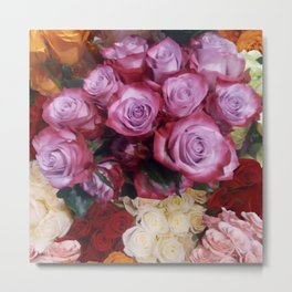 summer beautiful colorful rose bouquet  Metal Print