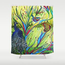 Peacock In Dreamland Shower Curtain