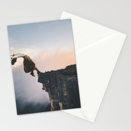Up in the Clouds-Surreal Levitation Off a Cliff Stationery Cards