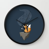fox Wall Clocks featuring Fox Tea by Freeminds