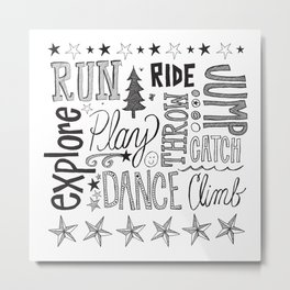 Hand Lettered Playful Words Metal Print