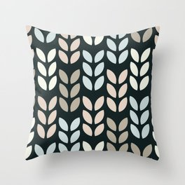 Scandinavian leaves on a black background design for home ornament. Throw Pillow