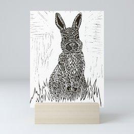 Rabbit Lino Print Mini Art Print
