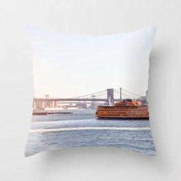 Staten Island Ferry to Manhattan Throw Pillow