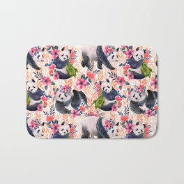 Watercolor pattern with pandas and flowers. Bath Mat